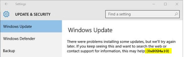 update status 0x8024401c