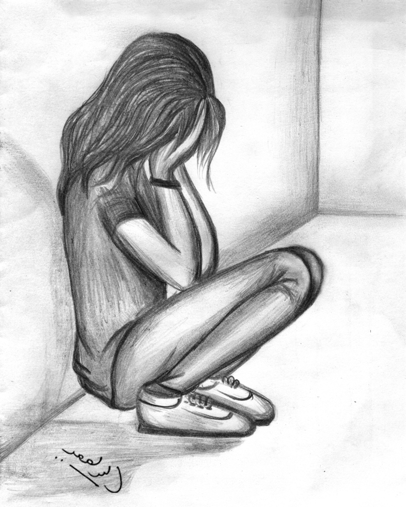 Depressing sketch dp for girls sad girl pictures drawing wallpaper simplepict